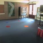 Flotex tapijt aula school figuren onderhoud geluidsdempend